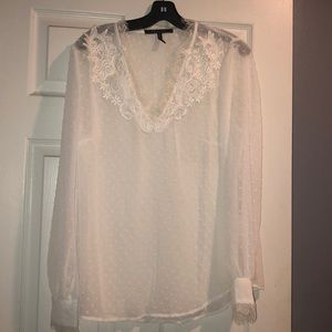 BCBG White sheer Swiss dot and lace blouse
